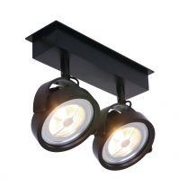 Spot Lenox spot LED Industrieel Zwart 1451ZW 2x12W 2x600LM